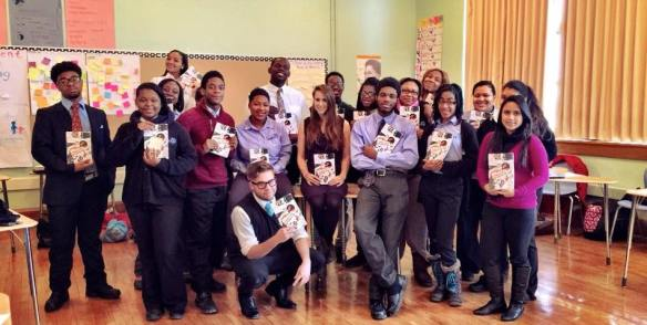 Poet and teacher Sarah Marcus with her high school students.