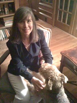 Karen Paul Holmes with dog