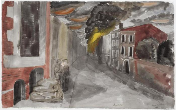 Armentieres_after_Bombing,_May_1940_Art.IWMARTLD175